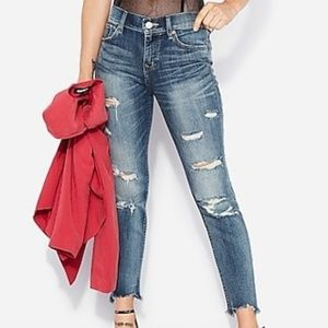 Mid Rise Medium Wash Ripped Skinny Ankle Jeans